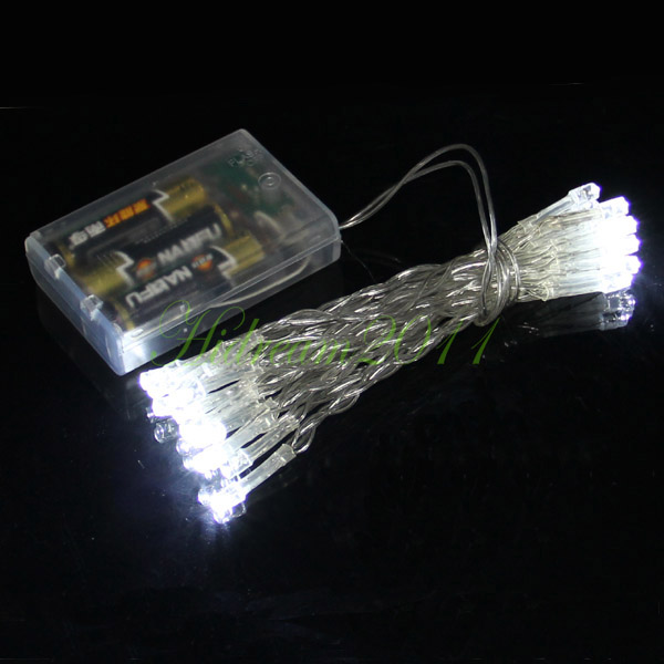 aa battery power operated 30 white led mini fairy lights clear xmas wedding car. Black Bedroom Furniture Sets. Home Design Ideas